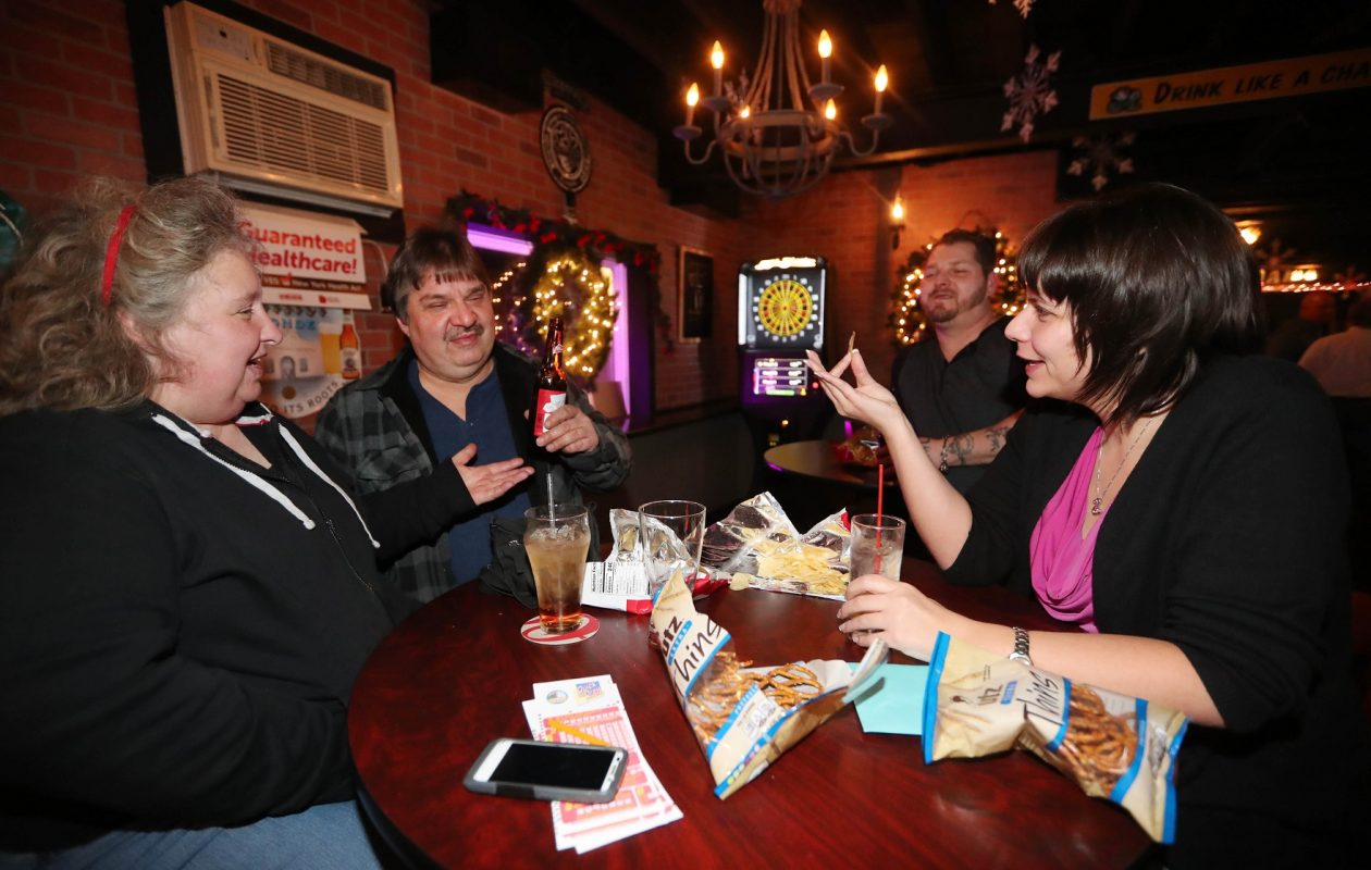 Hanging out from left at Jordan's Ale House are Audry Harrier of South Buffalo, Mike Paruszynski of South Buffalo, Dave Kocoll of Lackawanna and Jamie Fox of Lackawanna. (Sharon Cantillon/Buffalo News)