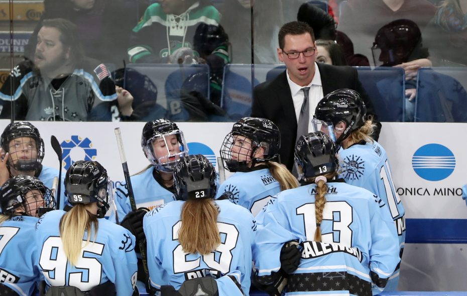 Cody McCormick, coach on the bench as Buffalo Beauts play Minnesota Whitecaps  in 3rd period action in there first game playing at KeyBank Center, in Buffalo, N.Y., on Saturday, Dec. 29, 2018. Buffalo Beauts 1, Minnesota Whitecaps 2, final.  (John Hickey/Buffalo News)