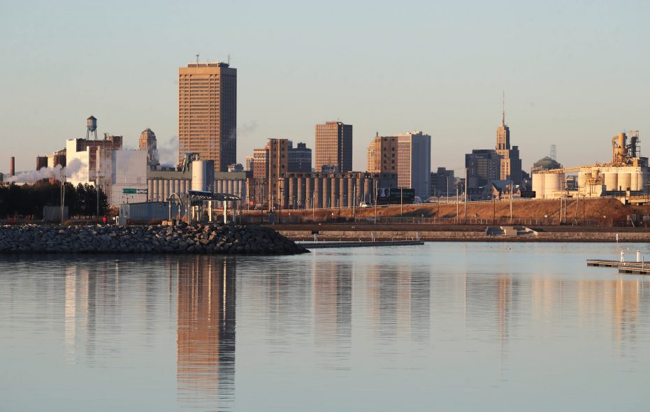 Downtown is reflected in the water at the small boat harbor on Friday. (Sharon Cantillon/Buffalo News)