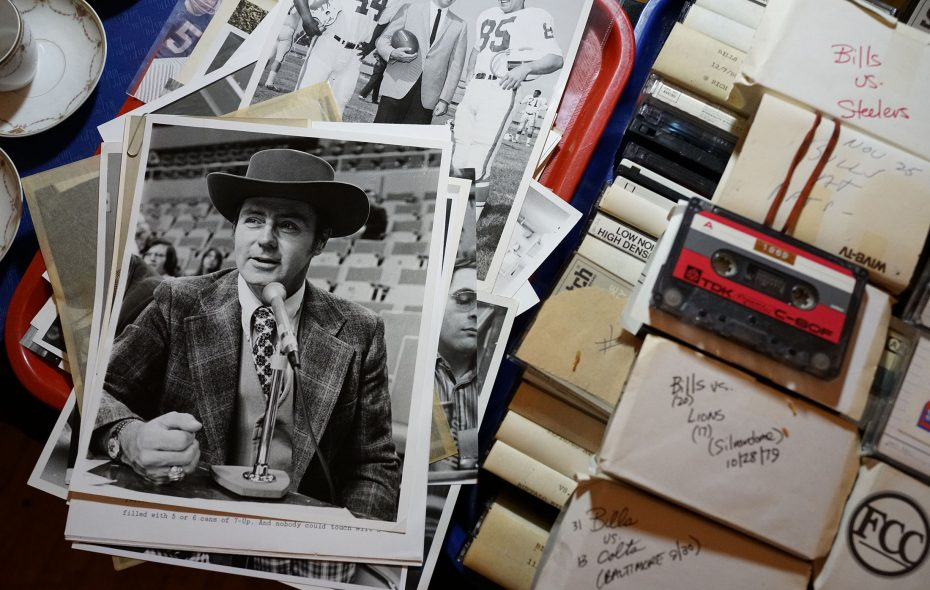 Photographs and his personal collection of  cassette tapes of Bills games he called are among a collection of personal items from the estate of Van Miller, the legendary play-by-play announcer for the Buffalo Bills, up for auction this Tuesday at the Lodge Auction House. (Derek Gee/Buffalo News)