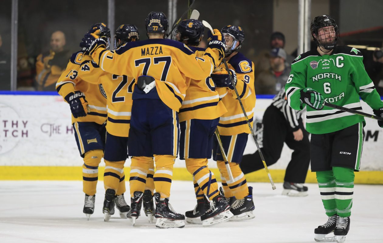 Canisius players celebrate a first-period goal Friday night by David Parrottino against North Dakota at HarborCenter. (Harry Scull Jr./ Buffalo News)