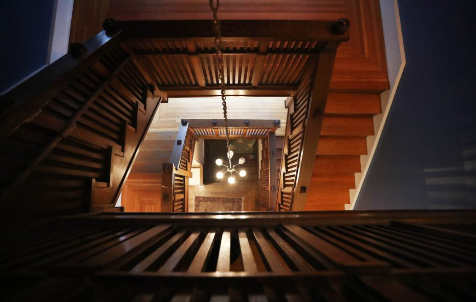 A view of the staircase in the Palmer Centennial House, site of Decorators' Show House 2019 (April 27 to May 19). A sneak peek of the undecorated house is Feb. 9 and 10. (Sharon Cantillon/Buffalo News)