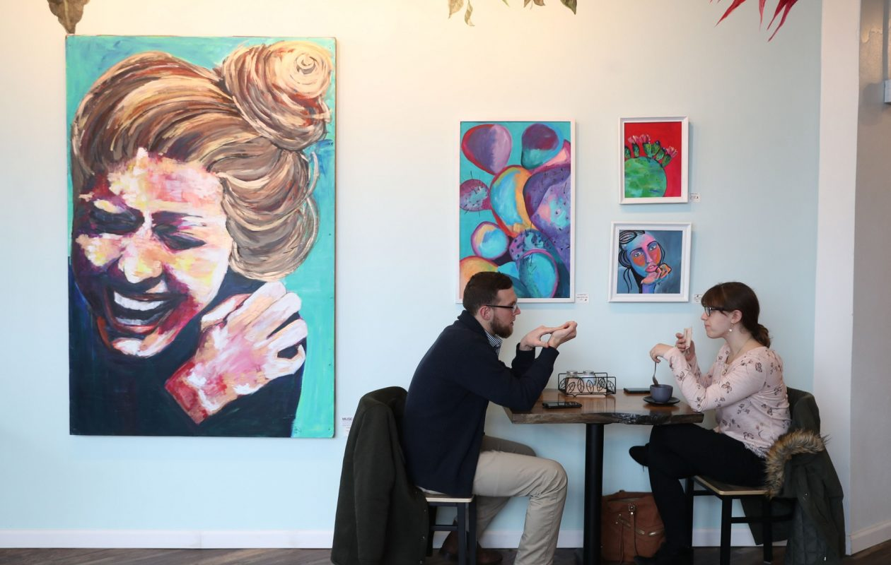 Kornerstone Cafe and Juice Bar is at the Larkin Center of Commerce. Customers, from left, are Zac Nowak and Jennifer Kaite. (Sharon Cantillon/Buffalo News)