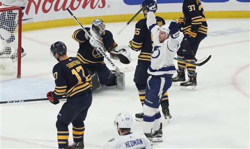 Though the Sabres would lose to the Lightning, 5-3, Saturday night, Buffalo again proved capable of trading scoring chances with the league's best. The loss dropped the Sabres' record to 23-16-6 and prevented them from moving into the first wild-card spot.