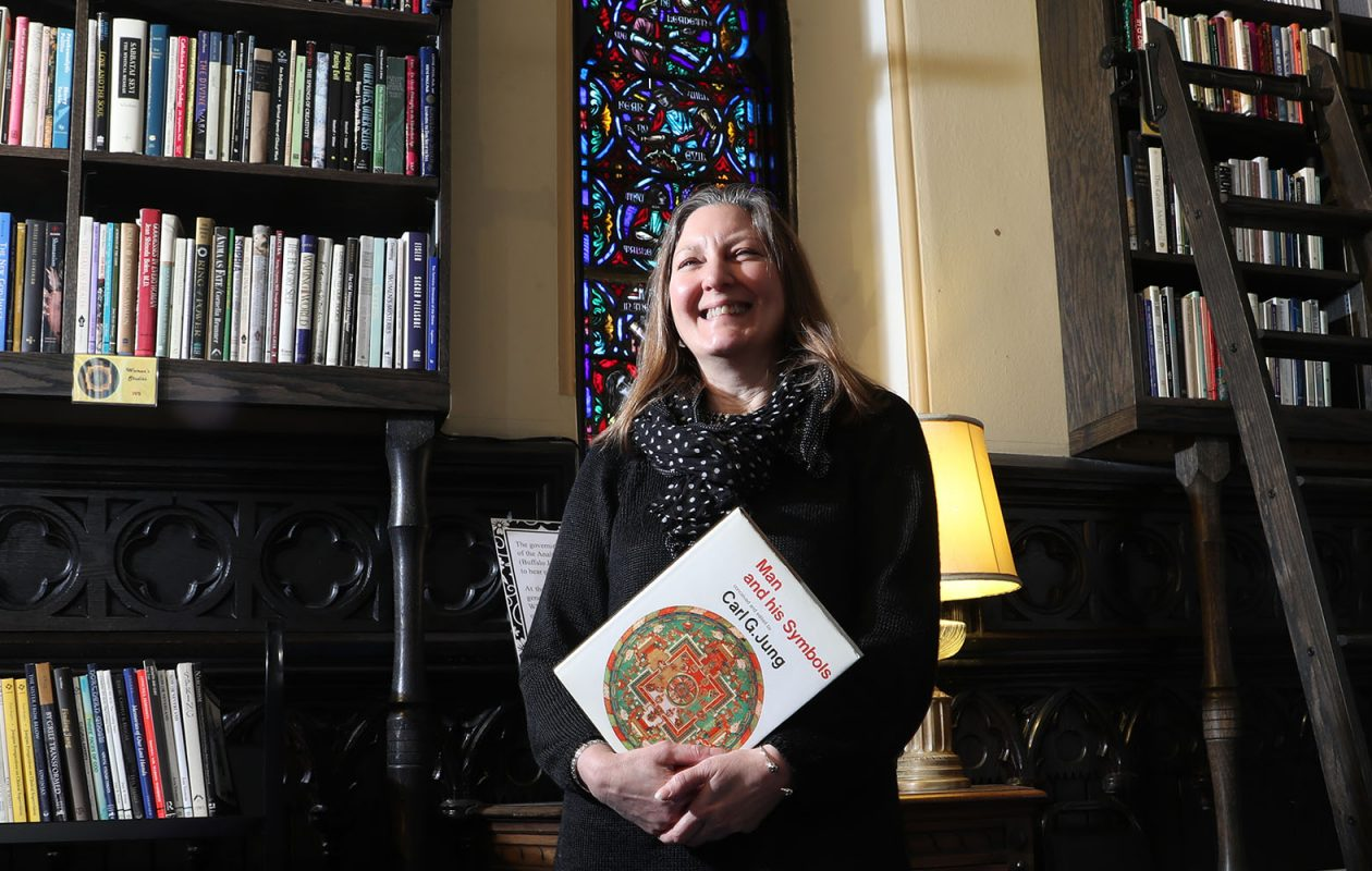 Jennifer Fendya, president of Jung Center Buffalo, called the new library a critical research tool for students of Carl Jung. 'Jung is not taught in academia. It's pretty much shunned unless you were lucky enough to come across a Jung Center.'      (James P. McCoy/Buffalo News)