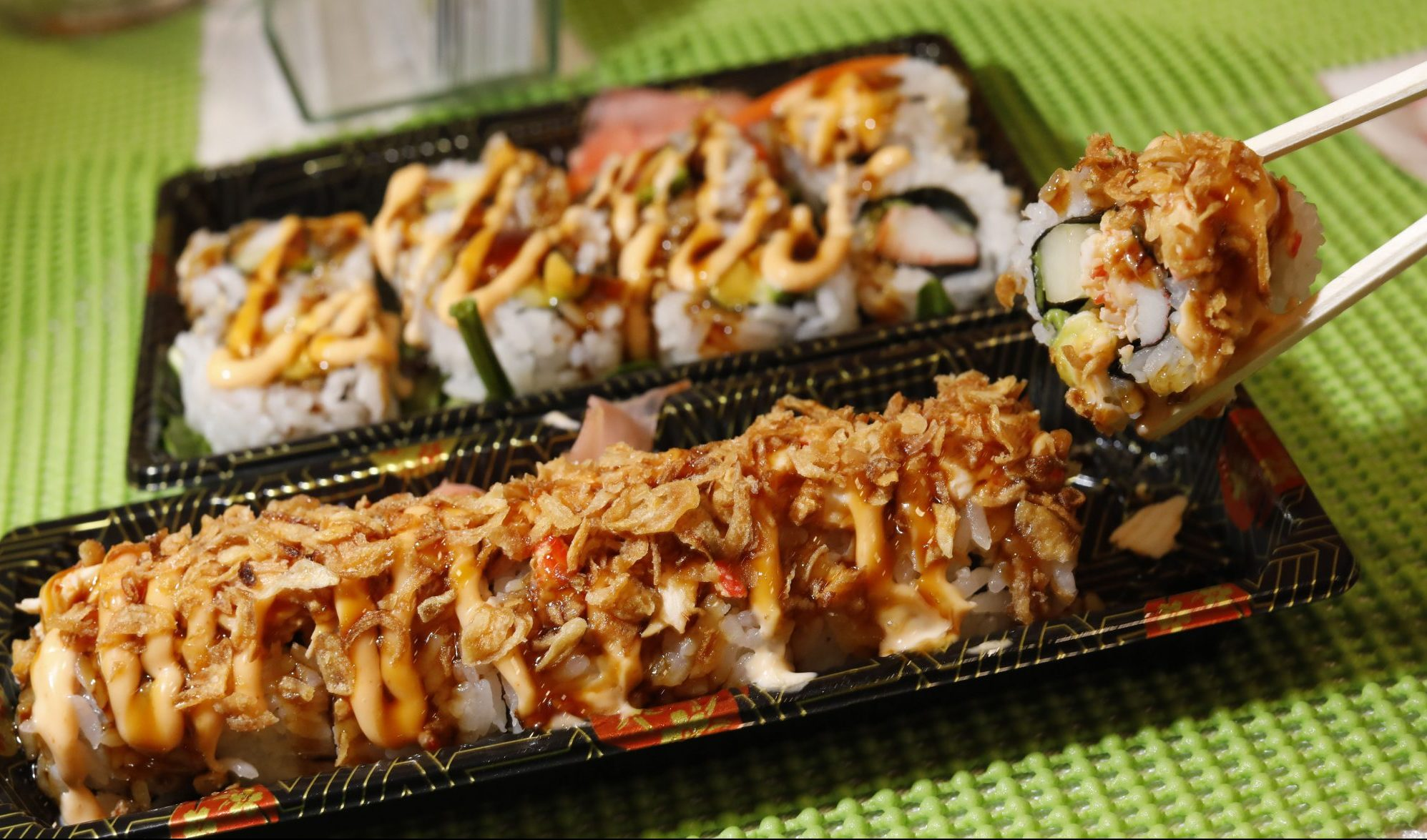 The Crunchy Dragon Roll at Man-Aung Sushi in the lobby of the Rand Building. (Derek Gee/Buffalo News)