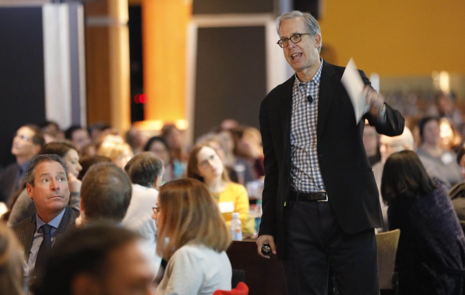Andy Goodman, co-founder and director of the Goodman Center, delivers a workshop about how storytelling techniques can help organizations get their message out at the Lexus Club at KeyBank Center, Tuesday, Jan. 15, 2019. (Derek Gee/Buffalo News)