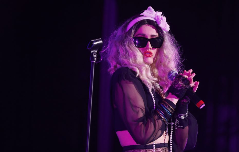 Ally Jedrzerek performs as Madonna during the Material Girls tribute show at the Riviera Theatre in North Tonawanda. (Mark Mulville/Buffalo News)