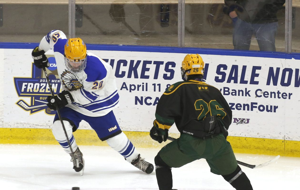 West Seneca West's Ethan Parsons tries to get around  West Seneca East's Michael Borowiak during a high school hockey game at HarborCenter on Monday, Jan. 21, 2019.  (Robert Kirkham/Buffalo News)