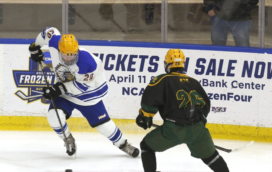 West Seneca West's Ethan Parsons tries to get around  West Seneca East's Michael Borowiak during a high school hockey game at HarborCenter on Monday, Jan. 21, 2019.  (Robert Kirkham/Buffalo News)