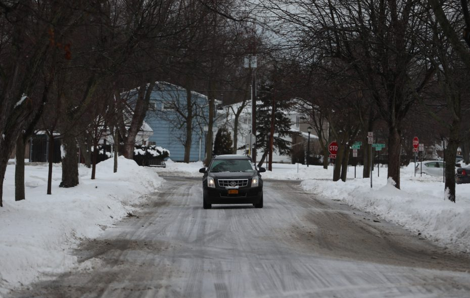 Drivers had to navigate with caution as roadways had a coating of ice for this morning's commute. A vehicle makes its way down Sweetwood Drive in Amherst, N.Y., on Wednesday, Jan. 23, 2019.   (John Hickey/Buffalo News)