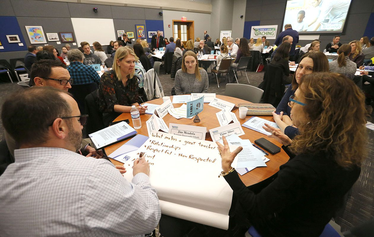 Teachers, students, administrators, and local politicians participate in the 'Take a look at Teaching Summit' in Kenmore on Jan. 24.      (Mark Mulville/Buffalo News)