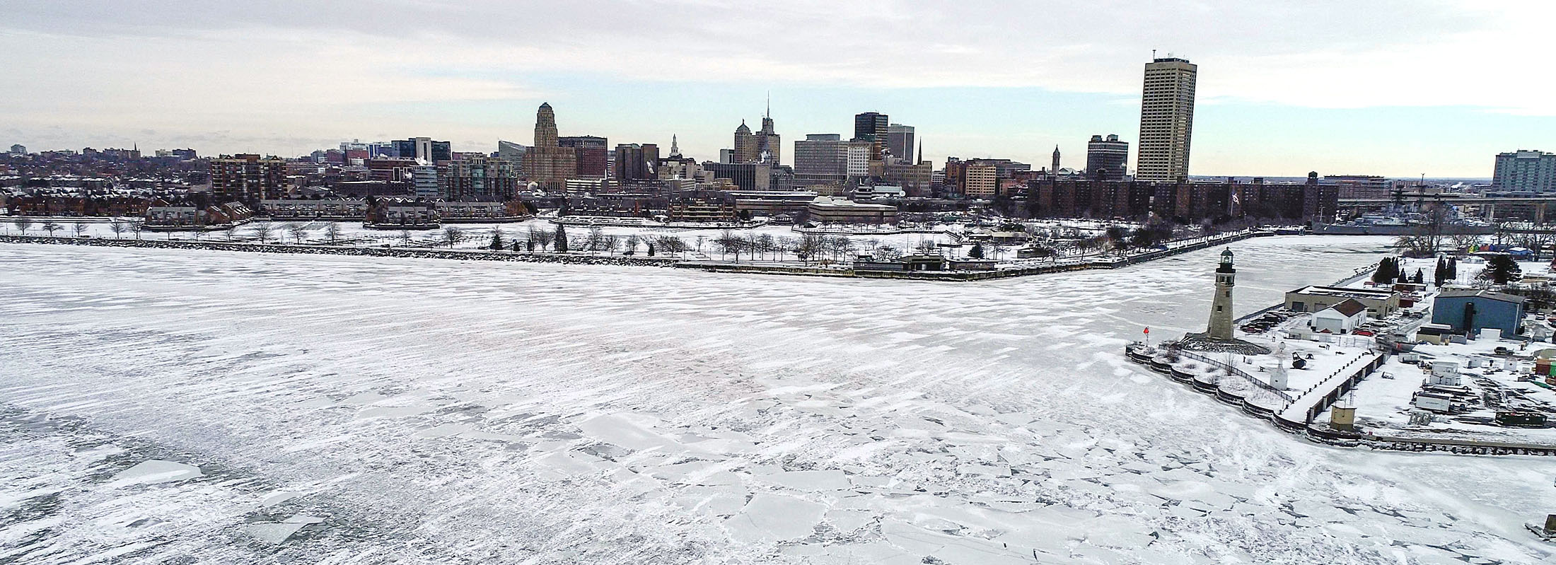 Ice covers much of Lake Erie at the Buffalo Harbor on Jan. 28. Not enough, unfortunately, to ward off lake-effect snow. (Derek Gee/Buffalo News)