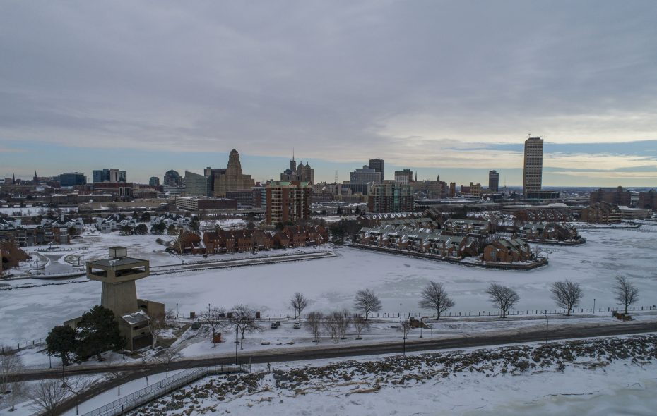 The frozen Buffalo skyline behind Erie Basin Marina, Monday, Jan. 28, 2019.   (Derek Gee/Buffalo News)