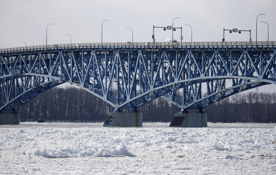 The ice is not flowing comfortably under the North Grand Island bridge on Saturday, Jan. 26, 2019.  (Robert Kirkham/Buffalo News)