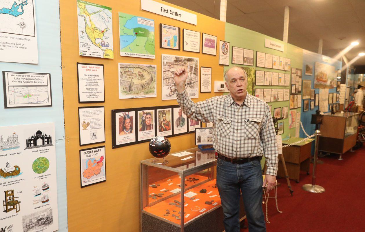 Executive Director Howard W. Roeske Jr. shows off exhibits at the North Tonawanda History Museum Jan. 29, 2019. (John Hickey/Buffalo News)