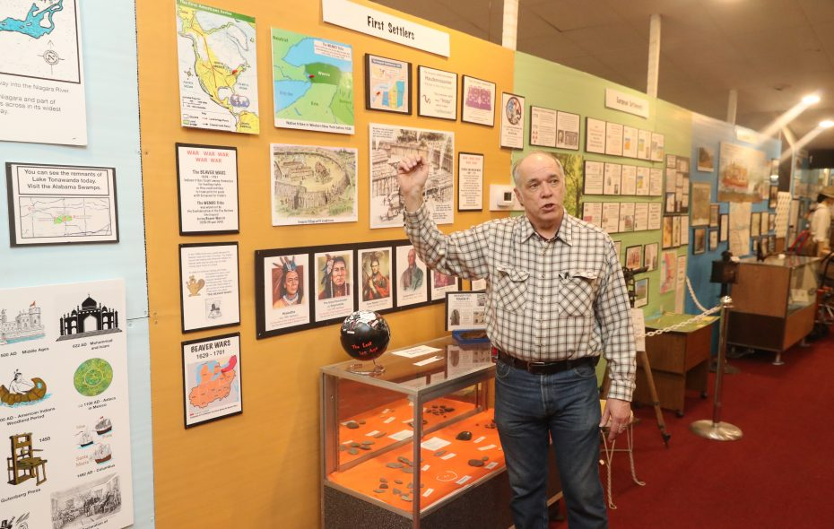 Howard Roeske Jr. shows off exhibits at the North Tonawanda History Museum on Jan. 29, 2019. (John Hickey/Buffalo News)