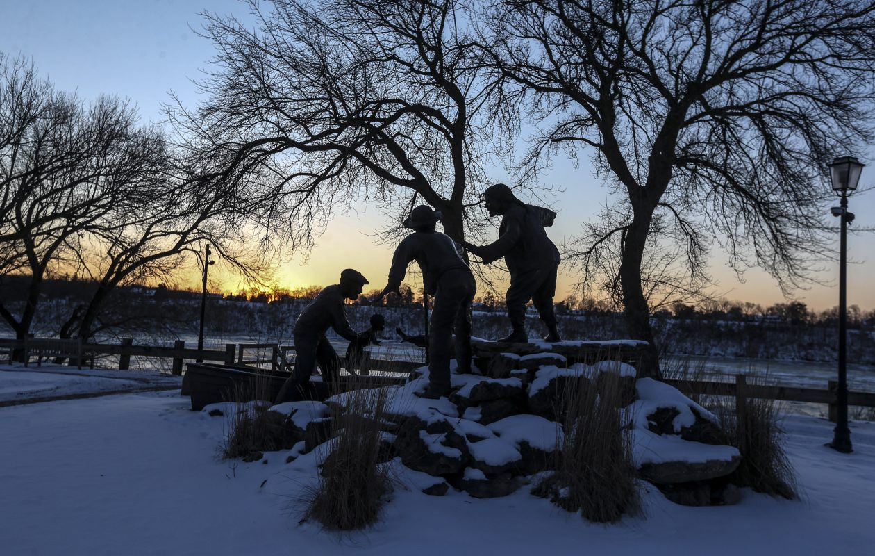 A beautiful sunset over the Freedom Crossing Monument in the lower gorge in Lewiston on Wednesday, Jan. 30, 2019. (James P. McCoy/Buffalo News)