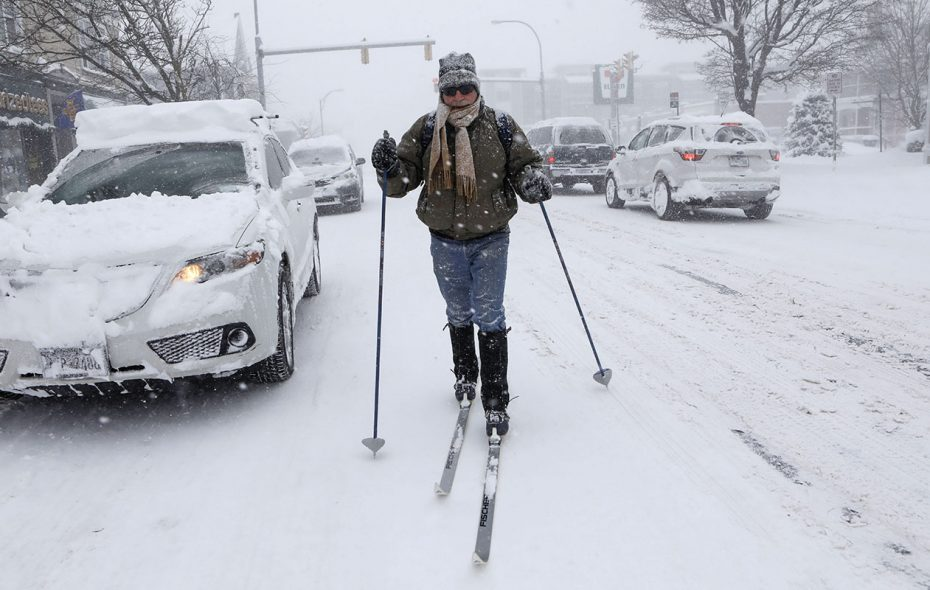 Dwight King cross-country skis down Elmwood Avenue while making a run to the store on Jan. 30. (Derek Gee/Buffalo News)