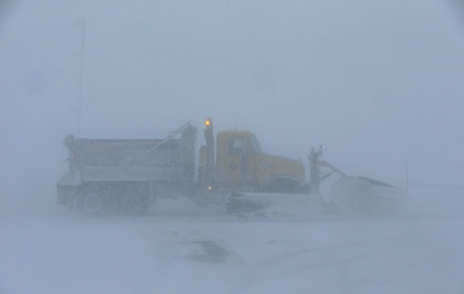 An Erie County plow makes its way through the blowing snow along Route 391 in Boston during the polar vortex on Wednesday, Jan. 30, 2019. (Harry Scull Jr./Buffalo News)