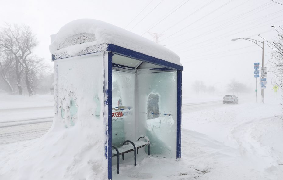 A homeless man known around Williamsville as Larry was found dead in this bus shelter on Main Street close to the I-290 entrance. (Sharon Cantillon/Buffalo News)