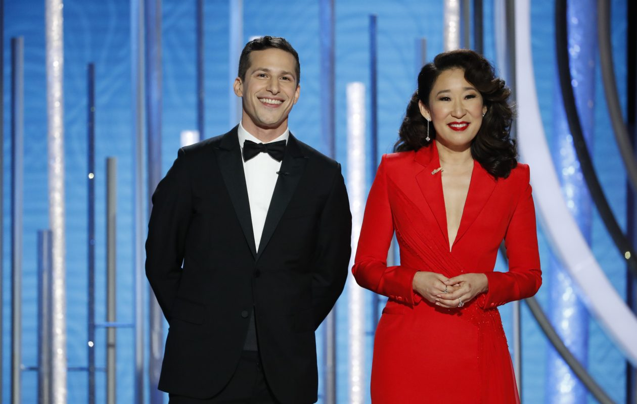 Andy Samberg and Sandra Oh host the 76th Annual Golden Globe Awards at the Beverly Hilton Hotel on Jan. 06, 2019, in Beverly Hills, Calif.  (Getty Images)