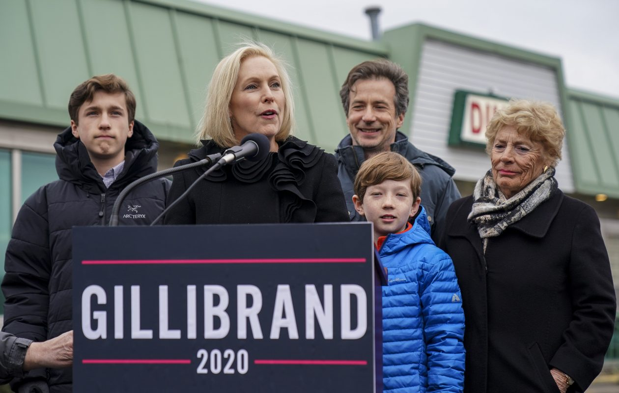 Surrounded by her family, Sen. Kirsten Gillibrand announces that she will run for president in 2020 on Jan. 16, 2019, in Troy. (Getty Images)