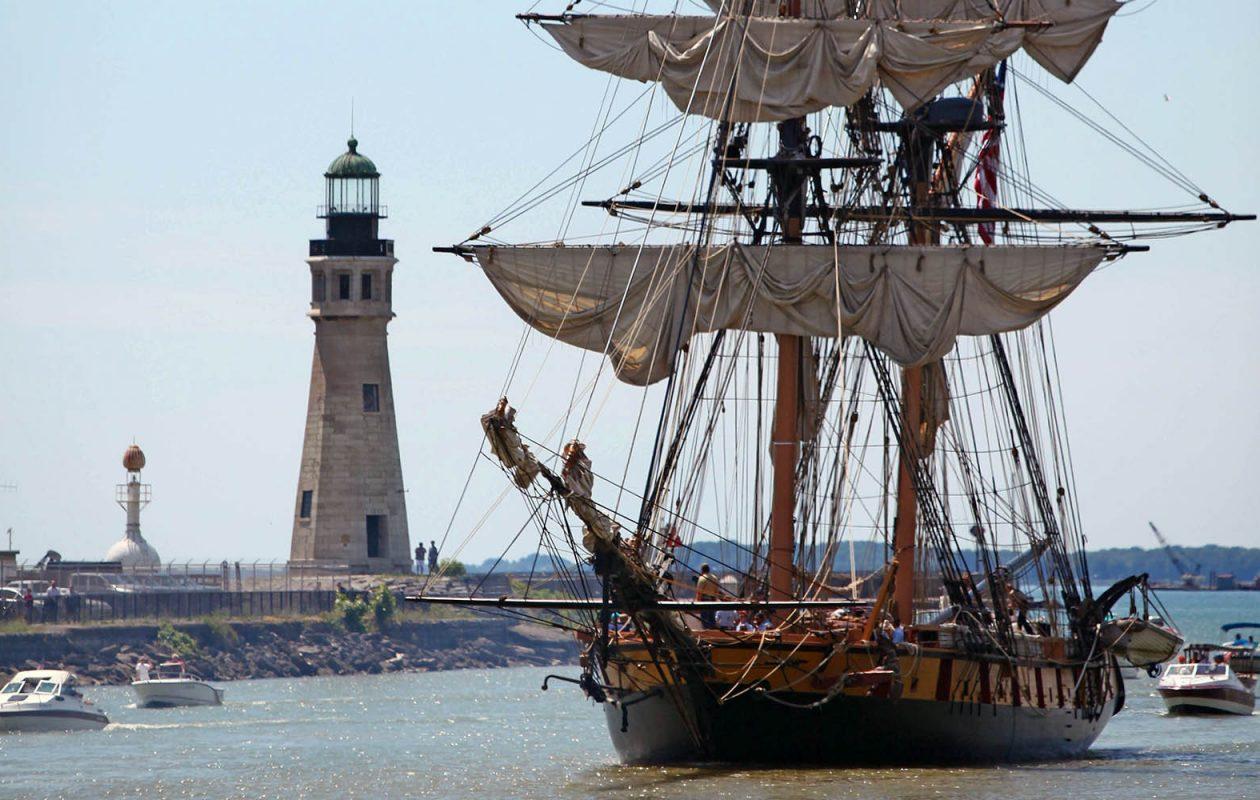 The U.S. Brig Niagara steers into the Erie Basin Marina on Thursday, July 10, 2014.  (Robert Kirkham/Buffalo News)