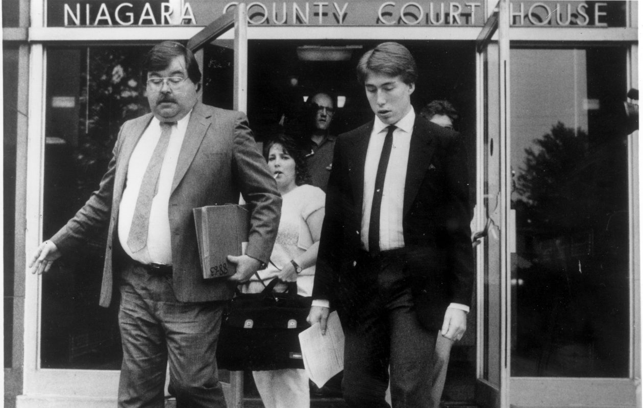 William C. Shrubsall, right, and his attorney Paul G. Cleary leave the Niagara County Courthouse in Lockport in 1988, the year Shrubsall beat his mother to death with a baseball bat. Shrubsall on Friday is set to leave Canadian prison and begin the process of deportation to this country. (News file photo)