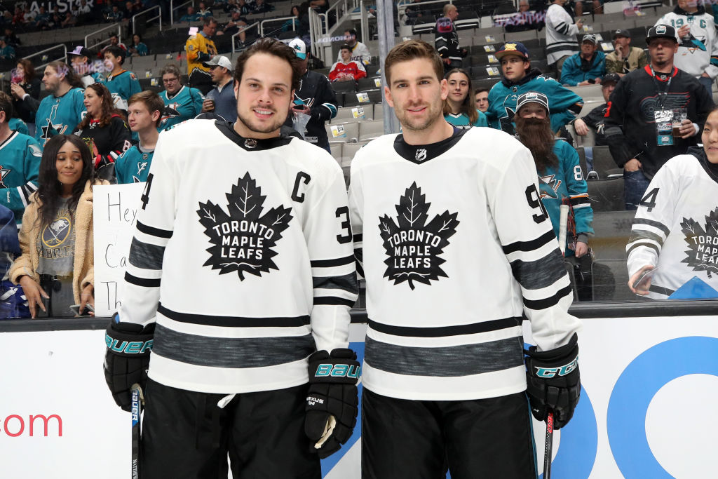 Toronto's Auston Matthews, left, and John Tavares (shown at the All-Star Game) will be trying to lead the Leafs to their first playoff series win since 2004. (Getty Images)