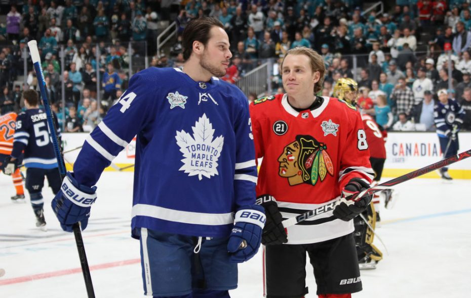 Auston Matthews of Toronto and South Buffalo native Patrick Kane of Chicago chat during warmups prior to Friday night's All-Star Skills Challenge in San Jose (Getty Images).