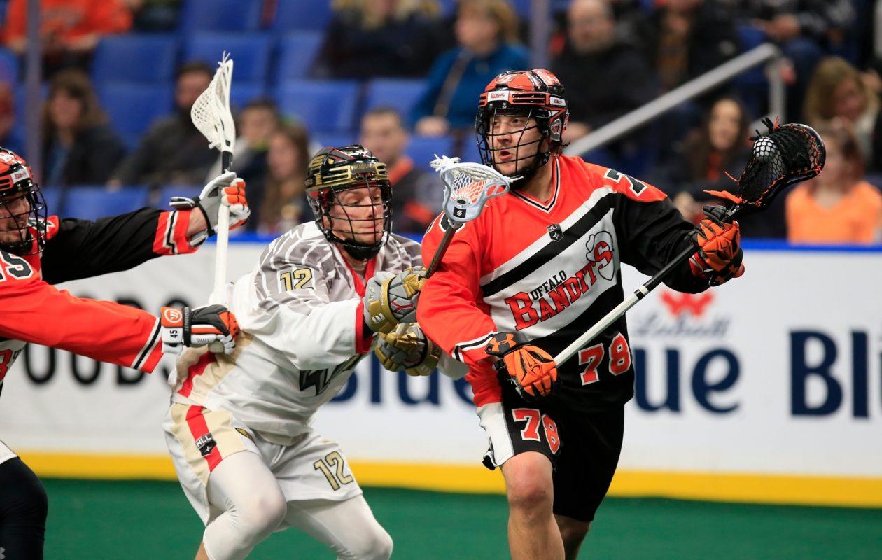 Buffalo Bandits player Jordan Durston moves the ball against the Philadelphia Wings.(Harry Scull Jr./Buffalo News)