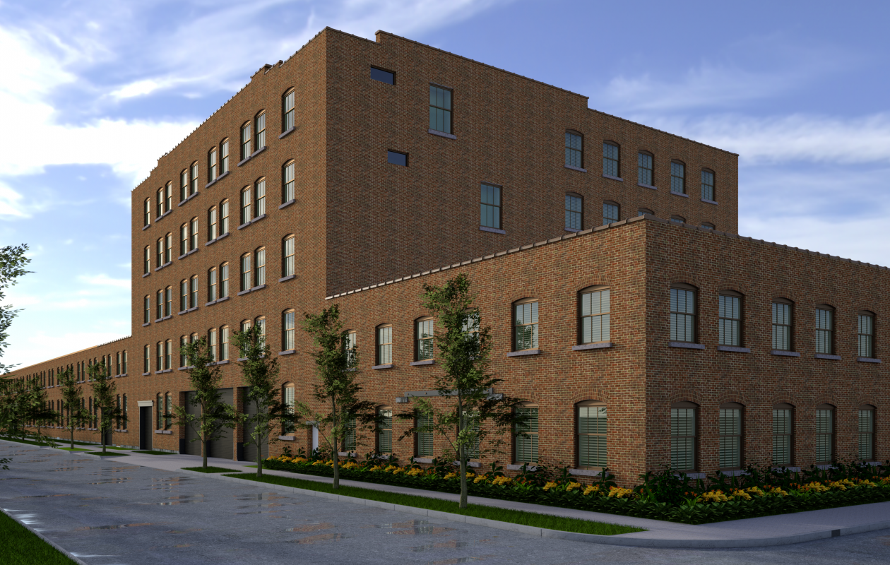A rendering of the planned redevelopment of the Barcalo Manufacturing Co. complex in the Old First Ward. (Image courtesy of Karl Frizlen and Jason Yots)