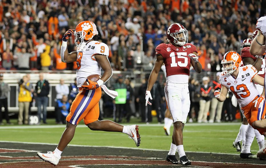 Clemson running back Travis Etienne (9) celebrates his second-quarter touchdown against Alabama in the College Football Playoff national championship at Levi's Stadium on January 7, 2019, in Santa Clara, California.  (Photo by Christian Petersen/Getty Images)