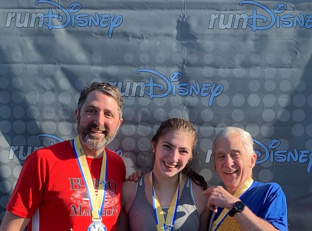 Three generations, Joe Chernowski, Naomi Chernowski, and George Chernowski, ran the Disney Half Marathon. (Photo courtesy Joe Chernowski)