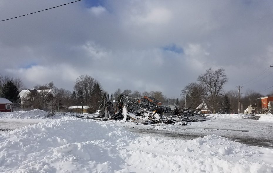 Barker Village Board held an emergency session after Village Hall and public library (housed in the same building) burned overnight. (Thomas Prohaska/Buffalo News)