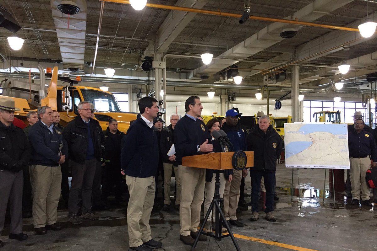 Gov. Andrew Cuomo addresses the media Wednesday from the New York State Thruway facility in Cheektowaga. (Keith McShea/Buffalo News)