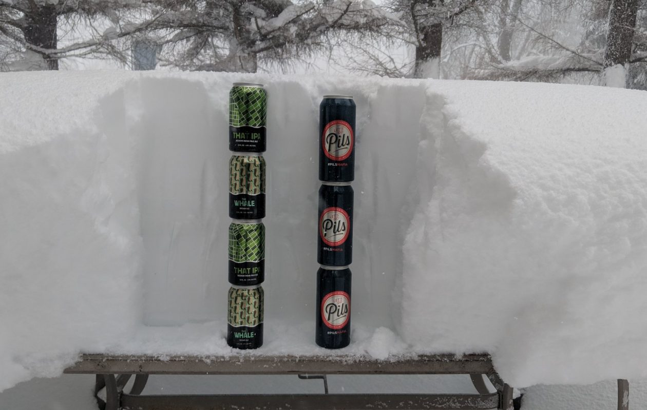 Community Beer Works beer stacked in the snow Thursday. (Photo courtesy of Community Beer Works/Twitter)