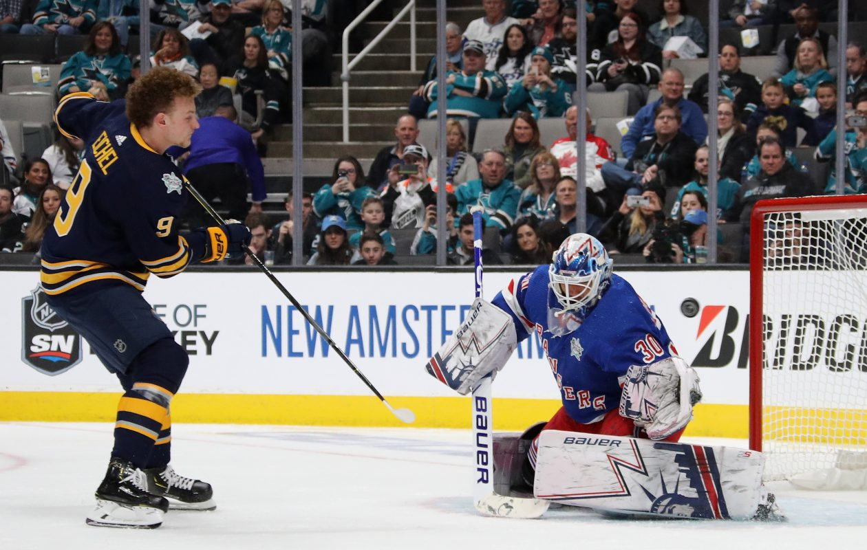 Jack Eichel is stopped by New York goalie Henrik Lundqvist during the Save Streak competition of Friday's All-Star Skills Challenge in San Jose. (Getty Images)