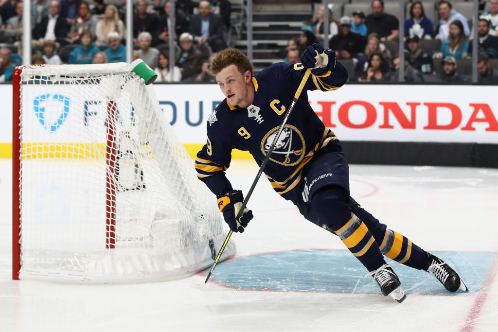 Jack Eichel cuts around the net during the Fastest Skater competition  (Getty Images). e89d097ed