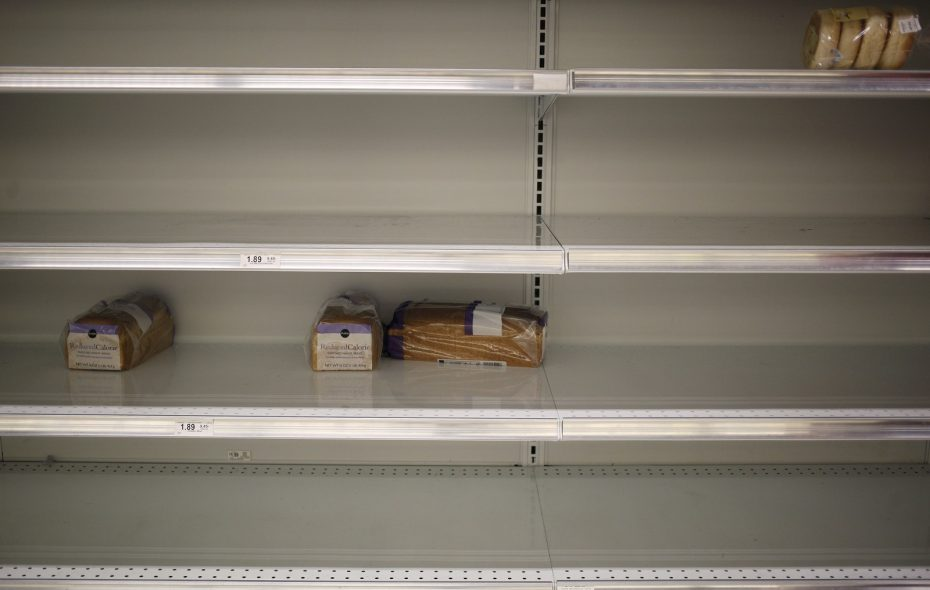 The bread is almost always the first to go off store shelves prior to a storm. (Luke Sharrett/New York Times)