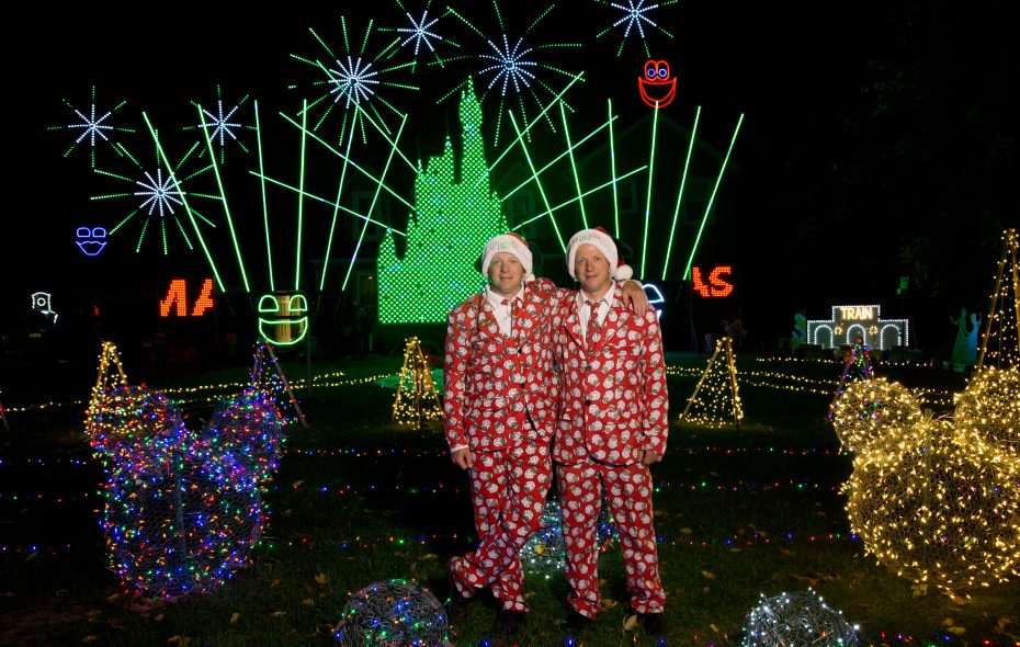 Dennis Field, left, and Larry Field, right, at their 2017 holiday display. (Courtesy Larry Field)