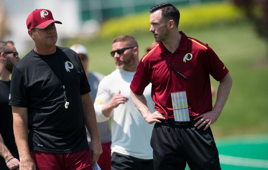 Kyle Smith, the Redskins' college scouting director, takes in a practice. (Photo courtesy of the Washington Redskins)