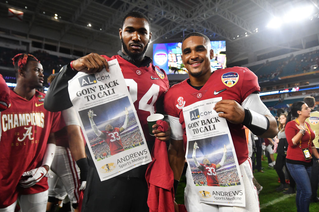 MIAMI, FL - DECEMBER 29: Jalen Hurts #2 of the Alabama Crimson Tide and teammates celebrate the win over the Oklahoma Sooners during the College Football Playoff Semifinal at the Capital One Orange Bowl at Hard Rock Stadium on December 29, 2018 in Miami, Florida.  (Photo by Mark Brown/Getty Images)