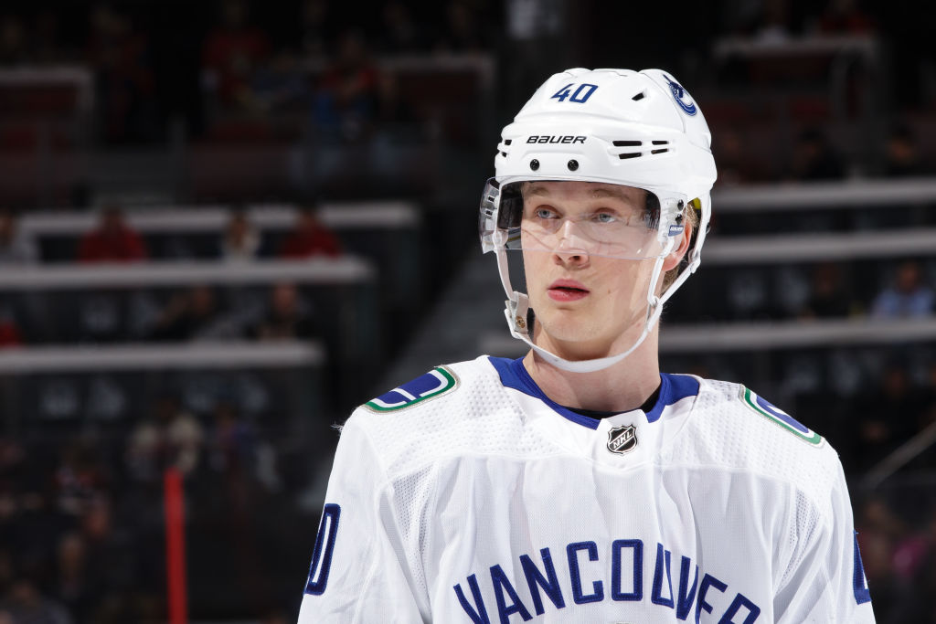 Vancouver Canucks rookie center Elias Pettersson has 22 goals among 42 points in 38 games this season. (Getty Images)