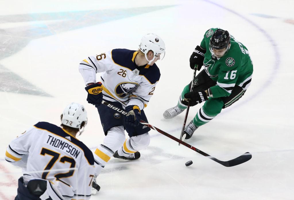 Buffalo Sabres defenseman Rasmus Dahlin turns the puck over in the third period Wednesday night. (Getty Images)