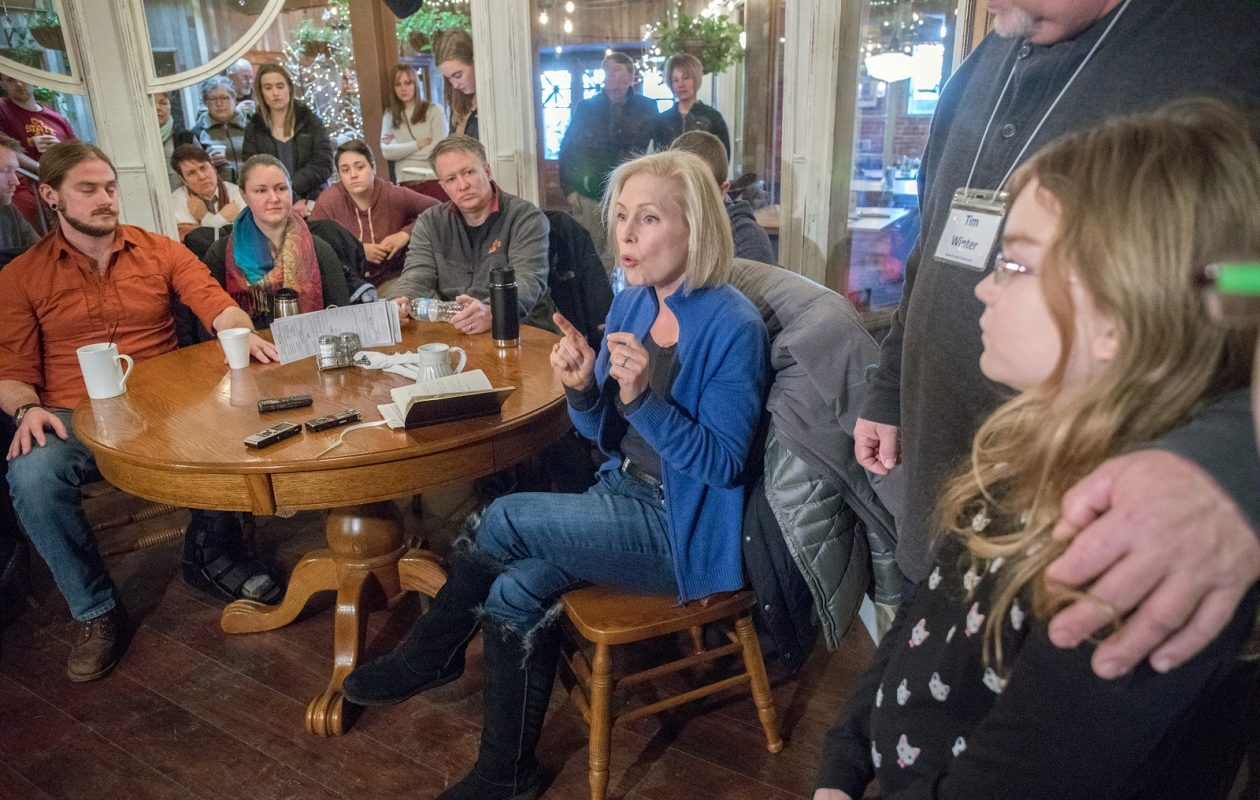 Sen. Kirsten Gillibrand speaks to a crowd at yhe Livery Deli in Boone, Iowa. (Rachel Mummey/New York Times)