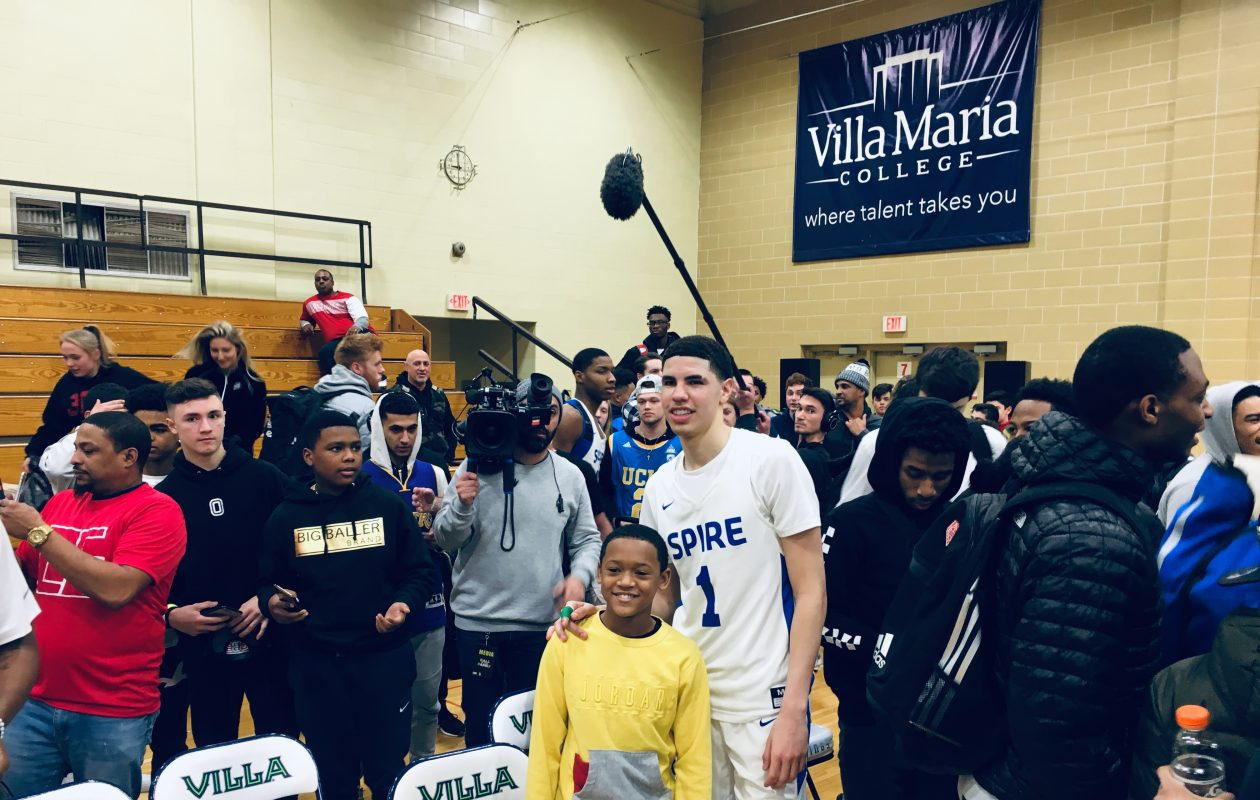LaMelo Ball greets fans at Villa Maria College after his SPIRE Institute team won its opening game at the Corey Graham HS/Prep Can-Am Showcase. (Jonah Bronstein)
