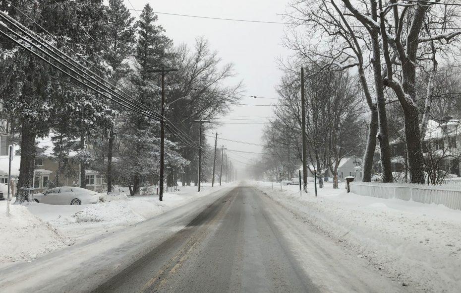 Snow coats the trees Thursday morning on East Main Street in the Village of Hamburg.   (Brian Connolly/Buffalo News)