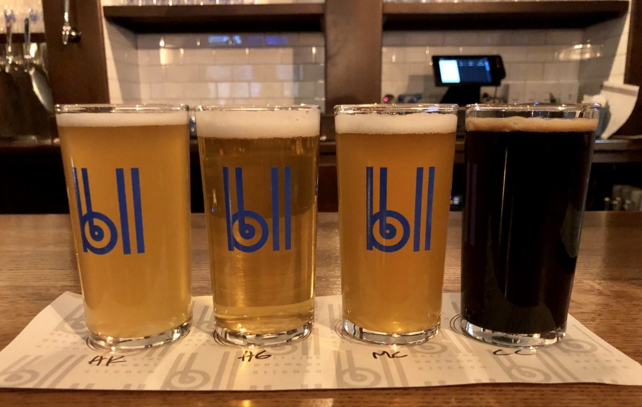 The Honey Kolsch, at left, is the flagship beer at the newly opened Belt Line Brewery. Also pictured are High Green, Main Course and Cross Cut (oatmeal stout). (Ben Tsujimoto/Buffalo News)